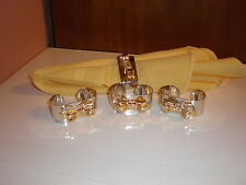 Set of (4) Napkin Rings - Silver Plated-Gold Tone Bow Embellishment  by Audrey
