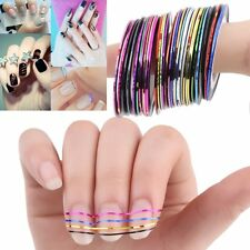 30 COLORS NAIL STICKER ROLLS STRIPING TAPE LINE NAIL ART UV GEL TIPS DIY KIT SY