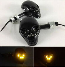 2x 4 LED Universal Amber Motorcycle Skull Head Turn Signal Indicators Light Lamp