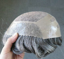 Fine Mono Center Hairpieces Hair Replacement System Poly Front Toupee #1B50