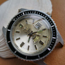 Vintage Sheffield Day-Date Divers Watch w/Pristine Dial,Stealth Bezel,Large Case