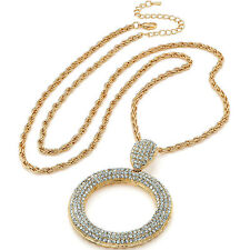 Gold diamante encrusted large round pendant 80 cm long chain rope necklace