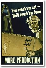 You Knock Em Out We'll Knock Them Down - NEW Vintage Reprint POSTER