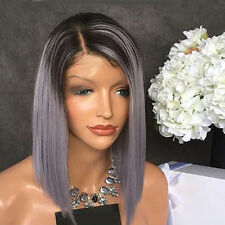 """14"""" Heat Resistant Shot Straight Black Mixed Dark Grey Ombre Lace Front Wig"""