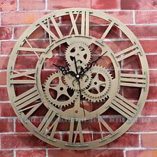 Large Wall Clock Mechanical Gear Vintage Mute Art Golden Clock Home Decor #4