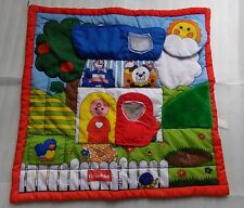 Vtg 1990 Fisher Price Baby Activity Play Mat Little People Puffalump Blanket