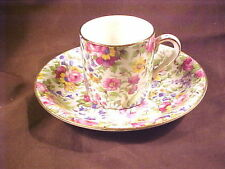 """ROYAL WINTON SUMMERTIME CAN SHAPED DEMITASSE CUP/SAUCER, 2-1/4"""" , PATT 775, GT"""