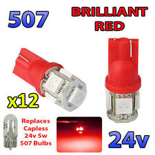 12 x RED 24v Capless Marker Light 505 501 W3W 5 SMD T10 Wedge Bulbs HGV Truck