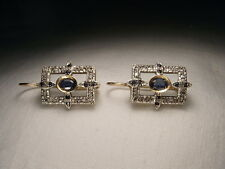 Gorgeous Antique Estate 14K Pink Rose Gold Diamond Sapphire Dangle Earrings
