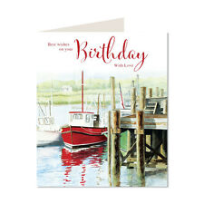 Best Wishes On Your Birthday Boat Design Lovely Bright Modern Open Happy Card