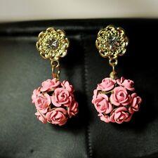 Boucles d`Oreilles Fleur Rose Ronde Retro Ancien Soirée Mariage Cadeau DD 3