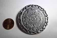 Sterling Silver Taxco Mexico Brooch Pendant Aztec Calendar Signed Maricela