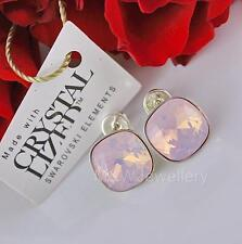 925 STERLING SILVER STUDS EARRINGS SWAROVSKI Elements SQUARE ROSE WATER OPAL F