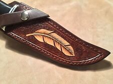 Custom Leather Sheath w/feather for BUCK 119 Knife