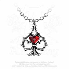 Alchemy Gothic Pewter Lucky In Love Red Crystal Heart Aces Pendant Necklace P759