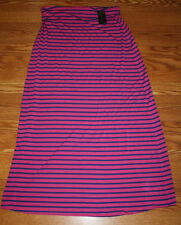 NWT Womens DESIGN HISTORY Peony Pink With Admiral Blue Stripe Maxi Skirt XXL $99