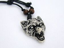 1 x Mens Faux Yak Bone Animal White Wolf Head Pendant Necklace Adjustable