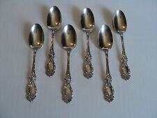"""NICE SET/ 6 ANTIQUE WALLACE STERLING SILVER TEASPOONS, """"LUCERNE"""" PATTERN"""