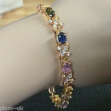 "GB045 18k gold filled 7.5"" tennis bracelet multi colour gemstones Plum UK BOXED"