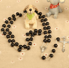 Chic Unisex Black Onyx Color Girasol Pearl Crucifix Cross Rosary Necklace