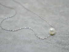 Delicate Elegant Single Pearl Chain Necklace Statement Collar Simple Necklace