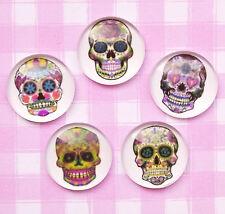 5 x Halloween Emo Skull Round Cabochons Kawaii Kitsch Decoden - UK SELLER!