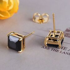 24k yellow gold filled party lovely black sapphire Fashionable stud earring