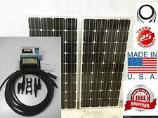 2- 160  Watt 12 Volt Battery Charger Solar Panel Off Grid RV Boat 320 watt total