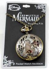New Disney The Little Mermaid Ariel Ursula Scene Pocket Watch Pendant Necklace