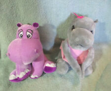 2 Hippopotamus Plush 1980 Gray Dakin Pink Dress & Purple Impact Hippo 8""