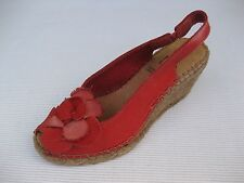 Azura Womens Shoes $130 NEW Flashback Red Leather Wedge Espadrille 37 6.5 7