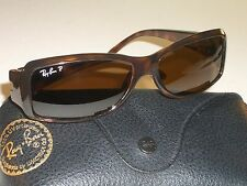RAY BAN RB4078 SLEEK POLARIZED BROWN B15 LENS PREDATOR WRAPs SUNGLASSES w/CASE