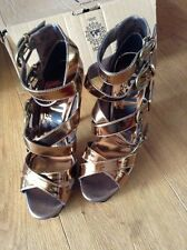 BNIB NEXT Runway Collection Gold Bronze Gladiator Platform Shoes UK 7