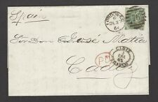 Great Britain 1862 1sh plate 1 no hairlines on 1862 cover to Cardiff Spain SG 90
