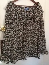 Vintage 1991 Urban Outfitters Brn/Wht/Blk Peasant Floral Blouse Large No-wrinkle