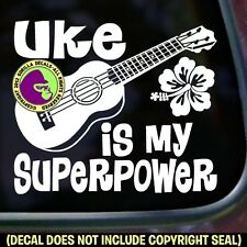 UKE SUPERPOWER Ukulele Hawaiian Folk Bumper Car Window Sign Vinyl Decal Sticker