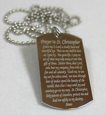 ST. CHRISTOPHER PRAYER RELIGION  DOG TAG NECKLACE STAINLESS STEEL
