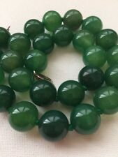 STERLING SILVER CHRYSOPRASE / JADE? BEADED NECKLACE 3.25.6