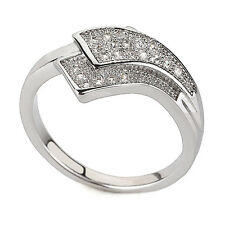 Luxury Engagement Wedding Platinum Plated Wave Ring large size Q 18 mm FR158