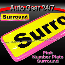 Car Number License Registration Plate Pink Trim Surround Frame Holder. SINGLE