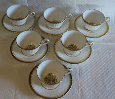 Set of 6 Paragon Z1004 1st Quality White Gilded Tea Cups & Saucers