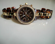 Chunky Oversized  Gold/Tortoise Shell Chrono Style Bracelet Crystal Watch