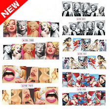 12Pcs Nail Art Water Transfer Beauty Marilyn Design Nail Sticker Decals DIY