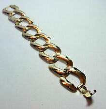 "Vintage New Old Stock NOS Yellow Gold Tone Large Link BRACELET  7"" Long #FASH27"