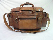 """22"""" Vintage Leather Duffle Bag Hold-All Bag Air Cabin Bag Weekend Travel Luggage"""
