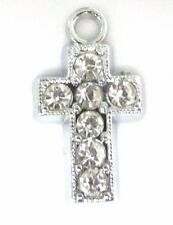 10 Cross Religion Crystal Rhinestone Silver Plated Charm/Pandent/Bead Sale18