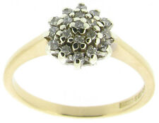 9ct 9Carat Yellow Gold Diamond Cluster Engagement Rings Size I 0.20ct SI1 I
