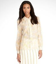 NWT Tory Burch Angelique Silk Shirt Top Tunic Lichee Fleur D'ete  $250 - Size 8
