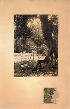 BK136 Carte Photo vintage card RPPC Homme peintre chevalet artiste peinture