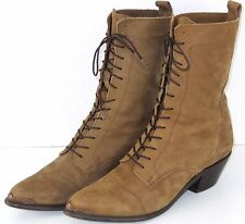 Dingo Western Lace Up Pointed Toe Mid Calf Boots Brown Womens 8.5M